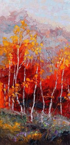'Crimson Gaze' ~ oil painting by artist Troy Collins Landscape Art, Landscape Paintings, Art Paintings, Landscapes, Wow Art, Tree Art, Painting Inspiration, Amazing Art, Watercolor Art