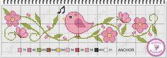 Barrado flor e pássaro Ponto Cruz