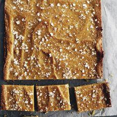 Salted caramel slice recipe from Cuisine Magazine Non Chocolate Desserts, Just Desserts, Dessert Recipes, Dessert Ideas, Salted Caramel Slice, Caramel Fudge, Wine Recipes, Baking Recipes, Sweet Cookies