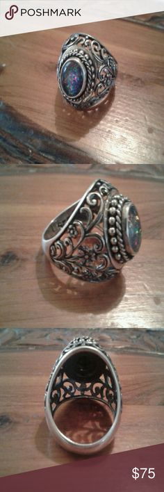 🕯SALE🕯VTG- OPAL GENUINE/ SS STUNNING! Large VTG Genuine boulder opal with a gorgeous detailed filigree design. This ring is in MINT condition. The opal has LOTS of fire to this stone. You will LOVE this beautiful ring. Vintage Jewelry Rings