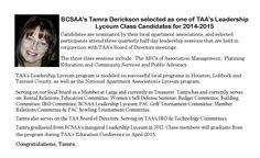 BCSAA's Treasurer, Tamra Derickson.  Tamra will graduate from TAA's Leadership Lyceum in April 2015.