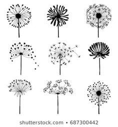 Set of doodle dandelions. Decorative Elements for design, dandelions flowers blooming. Dandelion Drawing, Dandelion Clock, Dandelion Flower, Doodle Drawings, Doodle Art, Floral Retro, Bullet Journal Art, Flower Doodles, Pottery Painting