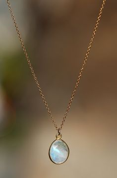 Moonstone necklace - gold moonstone - a fancy 22k gold lined faceted moonstone on a 14k gold filled chain