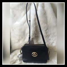 COACH Turnlock Camera Black Pebble Leather Crossbody Bag NWT ~ $225 #Coach…