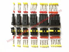 60 Sets AMP Tyco Superseal 1.5 Kit 1/2/3/4/5/6 Pin Female Male Waterproof Electrical Wire Cable Automotive Connector Car Plug