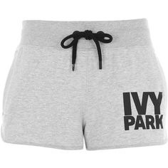 Logo Runner Shorts by Ivy Park ($21) ❤ liked on Polyvore featuring activewear, activewear shorts, shorts, light grey m, cotton jersey and logo sportswear