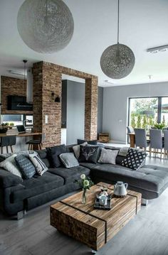 48 Simple Contemporary Home Decor Ideas Mid Century Modern Living Room Contemporary decor Home ideas simple Modern Home Interior Design, Contemporary Home Decor, Interior Exterior, Modern House Design, Room Interior, Modern Decor, Contemporary Design, Grey Interior Design, Modern Lamps