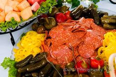 How about an Antipasto Platter with Pepperoni, Salami, Hot Peppers, Banana Peppers, Cheeses, and Crackers?! #weddingfood #weddings #horsdoeuvres #bayshoregrove #delicious #lakeontarioweddings