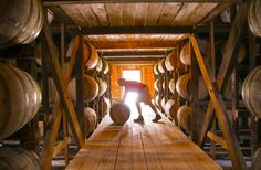 Rotating barrels of Makers Mark bourbon in one of the bonded warehouses at the Makers Mark distillery. Makers Mark 3350 Burks Spring Road Loretto, KY 40037