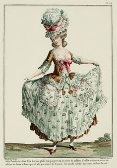 A Most Beguiling Accomplishment: Galerie des Modes, 17e Cahier, 6e Figure. Pretty Dancer dressed in a pleated Caraco with a low-cut gorgerette of bronze Italian taffeta, with a flowered linen apron matching the trim of the Caraco; the bows and ribbons are pink. (1779)