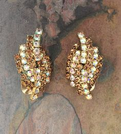 Vintage Kramer rhinestone clip on earrings-vintage costume