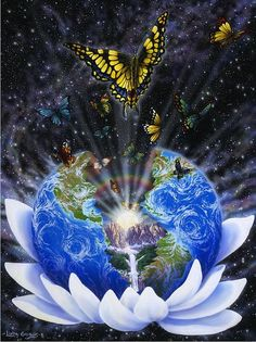 """REPINNED - """"Creative Transformations,"""" by Linda Gadbois. The earth, nestled in a lotus blossom is cracked open like an egg, with an """"inner landscape"""". The sun as our inner light, rising, and illuminating the rainbow of pure potential that flickers with radiance. Thirteen butterflies represent the various pathways for inner tansformation."""