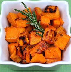 Roasted Sweet Potatoes with Fresh Rosemary Recipe on twopeasandtheirpod.com Love this simple side dish!