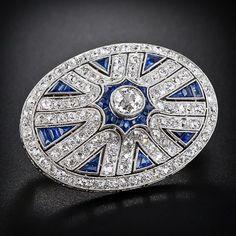 Elegante broche de platino brillantes y zafiros, 1920
