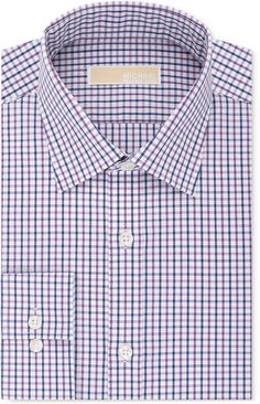 MICHAEL Michael Kors Men's Big & Tall Classic-Fit Non-Iron Purple Check Dress Shirt