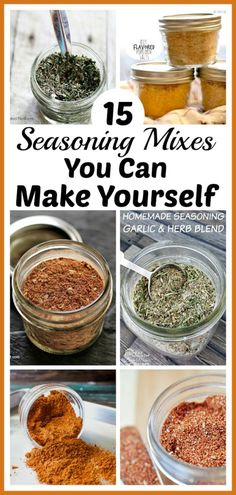 15 Seasoning Mixes You Can Make Yourself- Easy DIY Seasoning Recipes - - Tired of the high price of commercial seasoning mixes? Check out these easy seasoning mixes you can make yourself to save money! Homemade Dry Mixes, Homemade Italian Seasoning, Homemade Fajita Seasoning, Homemade Spice Blends, Homemade Spices, Homemade Seasonings, Seasoning Mixes, Spice Mixes, Best Burger Seasoning