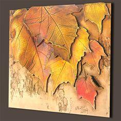 keramická kachle s podzimními listy / Ceramic tiles with Autumn Leaves by Jose Clay Wall Art, Ceramic Wall Art, Mural Wall Art, Mural Painting, Ceramic Bowls, Plaster Art, Scale Art, Wall Sculptures, Ceramic Sculptures