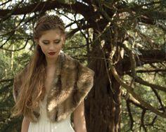 Bridal vintage inspired faux fur stole by Blanche in the Brambles. Dress by Laure de Dagazan. Headdress by Hermione Harbutt.