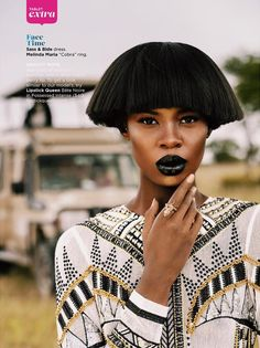 Top model Tshepiso Ralelathe is a Maasai Majesty for Essence magazine. Essence Magazine successfully launched its Global Issue. Black Fashion Designers, African American Beauty, Essence Magazine, Black Lipstick, African Models, Hair Affair, Afro Punk, Branding, African Hairstyles