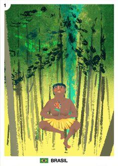 Mes del mundial: Brasil Junio, día 01 Daniela Arias www.daniela-arias.com.ar Este mes elegimos mostrar los paises contendientes representados por un héroe o algún rasgo cultural. Este es Almir Narayamoga, jefe de una tribu Surui. Defiende la subsistencia de su gente y su porción de selva, profundamente consciente de la importancia de su preservación, para el resto de nosotros.
