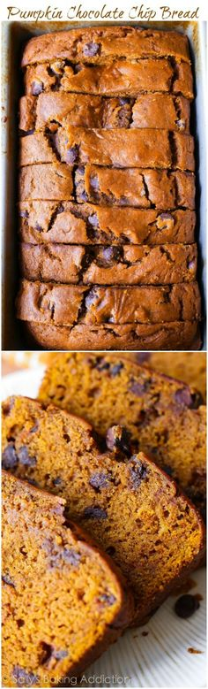 This recipe makes one heck of a super-moist pumpkin bread! This fall favorite is… This recipe makes one heck of a super-moist pumpkin bread! This fall favorite is packed with sweet cinnamon spice, chocolate chips, and tons of pumpkin flavor. Köstliche Desserts, Delicious Desserts, Dessert Recipes, Yummy Food, Moist Pumpkin Bread, Pumpkin Chocolate Chip Bread, Baking Chocolate, Homemade Chocolate, Pumpkin Recipes
