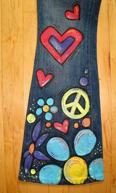 Flower Child Hippie Hand-Painted Jeans-Childrens by scatterbirdie