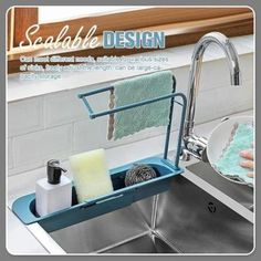 Telescopic Sink Storage Rack Cool Kitchen Gadgets, Cool Kitchens, Kitchen Organization, Kitchen Storage, Kitchen Organizers, Kitchen Necessities, Daily Cleaning, Dishwashing Liquid, Healthy Environment