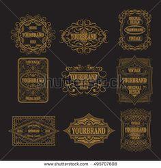 antique label vintage frame design luxury ornament floral design