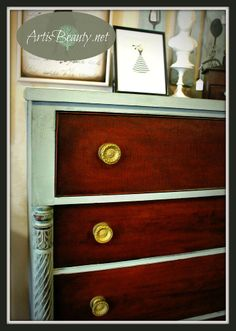 Hometalk :: Antique KINDEL Dresser Makeover --CeCe Caldwells paint in Smokey Mountain
