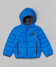 Look what I found on #zulily! Blue & Black Hooded Down Puffer Coat - Boys by Hawke & Co. #zulilyfinds