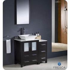 Fresca - Torino 36 Inch Espresso Modern Bathroom Vanity With Side Cabinet And Vessel Sink - FVN62-2412ES-VSL - Home Depot Canada