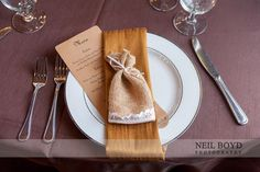 Menu and guest favors.  Table settings.  Raleigh weddings.
