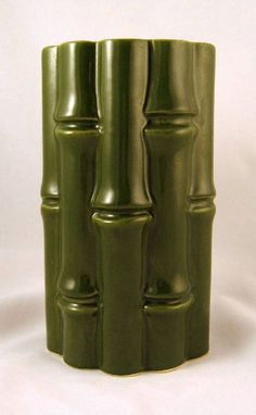 Red Wing Pottery No. 400 Bamboo Vase Green Yellow Tiki Bar Decor on Etsy