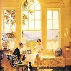 'Summer in Cumberland'  (1925)  James Durden (1878-1964). Sitting room scene looking through tall sash windows towards Derwentwater and the Scafell Range in Cumberland, (Cumbria/the Lake District). Elegant group of mother and daughter sitting by open window, having afternoon tea, small cat at the older woman's feet. Young man in cricket whites stands just outside window. Sunlight falls through window across floor.