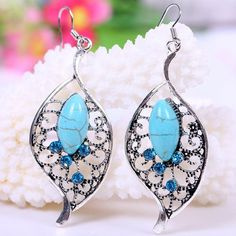Pair of Charming Turquoise Decorated Openwork Leaf Drop Earrings For Women #CLICK! #clothing, #shoes, #jewelry, #women, #men