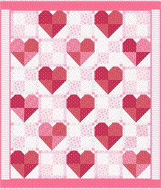 "It's Back!  The Valentines Sweetheart Treats Quilt Kit is back with 'new' antique rendition quilt fabrics!  A favorite quilt design -- perfect for the beginner quilter and quick for the savvy quilter -- the original quilt was designed by Julie of Seven Brides Designs. Large Hearts and 4 patches make up this quilt that will go together in a snap. The quilt measures 50"" x 58""  and the new Little Sweetheart fabric by Renee Nanneman for Andover Fabrics is perfect for this kind of lap quilt! The…"