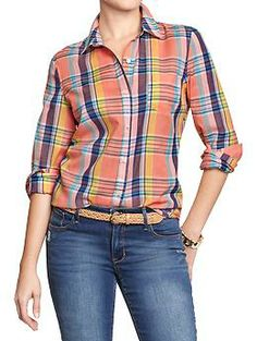 Women's Plaid-Madras Shirts in orange plaid from Old Navy