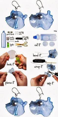 PET-palackból készült fülbevaló lépésről-lépésre vezető útmutatója látható a képeken. A teendők jól nyomon követhetők, kiegészítésképpen an...