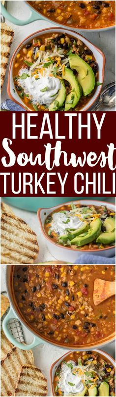 This HEALTHY SOUTHWEST TURKEY CHILI packs so much flavor for so little effort. You can feel great about this good for you comfort food! via @beckygallhardin