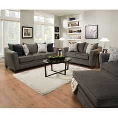 Simmons Upholstery Albany Pewter Loveseat | Overstock.com Shopping - The Best Deals on Sofas & Loveseats