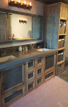 YOUR Custom Rustic Barn Wood and Metal Industrial Double Vanity with 8 Drawers and 2 Doors