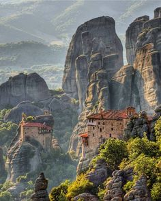 - The Meteora is a formation in central Greece hosting one of the largest and most precipitously built complexes of , second in importance only to Mount Athos in , northern Greece Places To Travel, Places To See, Wonderful Places, Beautiful Places, Places Around The World, Around The Worlds, Beau Site, Island Tour, Greece Travel