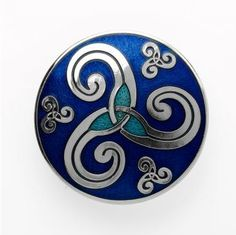 Celtic Triskel brooch in silver plated and enamel. Celtic simbology of The Way of St.James. Tax free $21.90