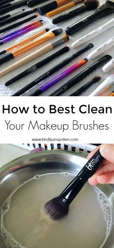 Want to know how to best clean makeup brushes at home? This simple DIY uses only gentle shampoo or dish soap and warm water to clean your brushes fast! Diy Makeup Brush Cleaner, Makeup Brush Uses, How To Wash Makeup Brushes, How To Apply Makeup, It Cosmetics Brushes, Eyeshadow Brushes, Nars Cosmetics, Mac Eyeshadow, Make Up Palette