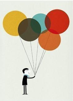 ilustracion globos de colores blanca gomez