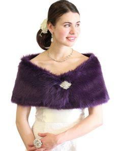Faux fur wrap shrug stole bordeaux purple