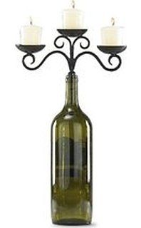Amazon.com: True by True Fabrications Creative Gift 3-Tier Wrought Iron Candelabra for Wine or Champagne Bottle, Includes 3 Tealights, Bronze: Wine Decor: Kitchen & Dining