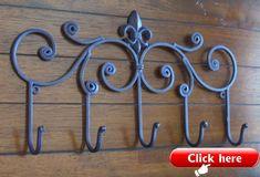 by OVOV 4 Pcs Coat Hook Heavy Duty Cast Iron Classical Robe Coat Hooks Coat Hangers Entryway Hooks 4PACK