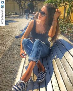 Our #stylish #follower @on.cloud.on #ootd #lookoftheday #essentials #blue #jeans #tank #dnesnosim #czechgirl @on.cloud.on with @repostapp. ・・・ Melting 🔥 #sunny #walk #spring #may #holiday #bench #girl #brunette #sunglasses #day #suits #off #outfit #architecture #park #oldtown #relax #chill #friends #nomakeup