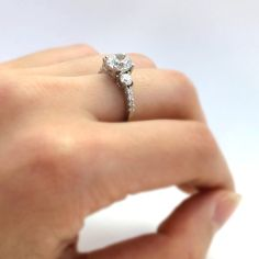 1.33 ct.tw Three-Stone Engagement Ring-Brilliant Cut by Besbelle